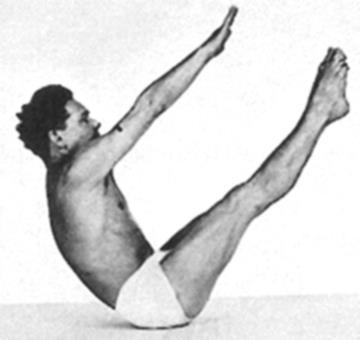 Joseph Pilates doing a Teaser